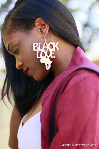 Black Love Wooden Earrings