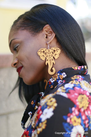 Tribal Elephant Wooden Earrings