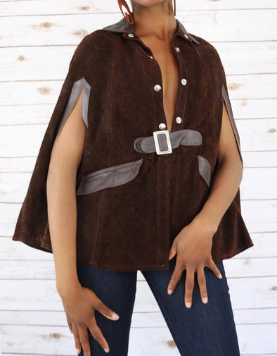 Suede and Leather Brown Vintage Cape