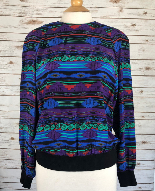 Vintage 90s Tribal Silk Top