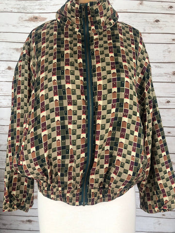 Vintage Silk Wind Breaker Jacket Plus Size