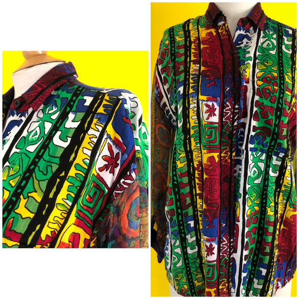 80s 90s Vintage Button Down Blouse Sheer Sleeve Tribal Print Hipster Slouch