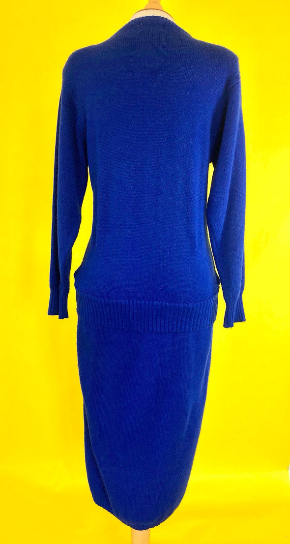 Blue Sweater Dress Leather Trim and Rhinestone Size Medium