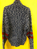 Vintage Oversized Mens 80s Sweater Leather Slouch Hipster