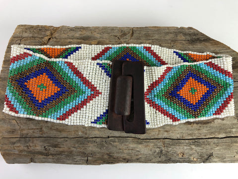 White Handmade Beaded Belt