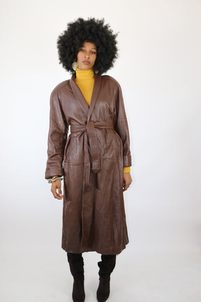 Jacqueline Ferrar 80's Vintage Leather Trench Jacket