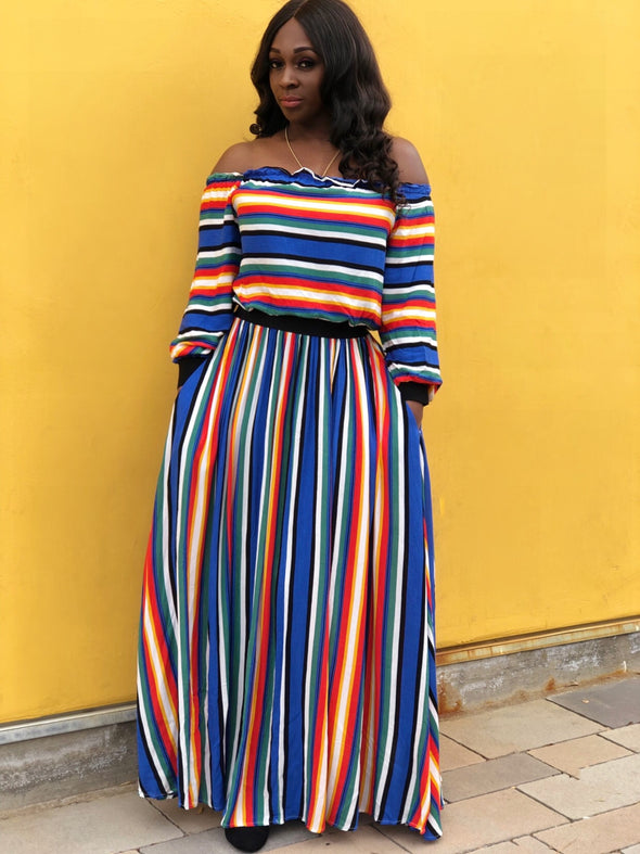 Striped Off Shoulder Set