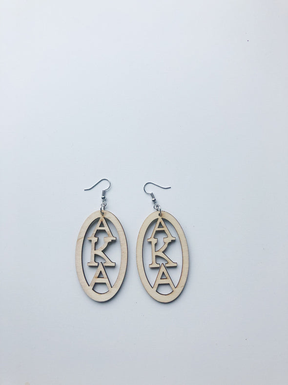 Greek Letter Wooden Earrings