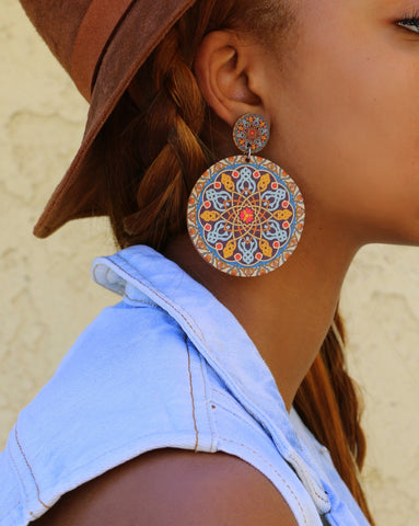 Psychedelic Wooden Earrings