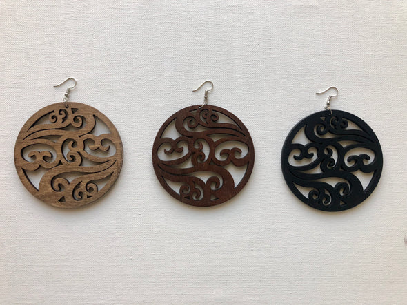 Ornate Wooden Earrings