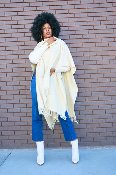 Ivory Vintage Tunic Cape with Scarf