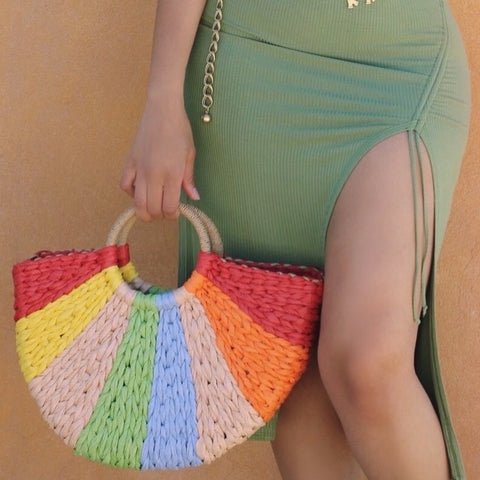 Rainbow Crescent Straw Tote