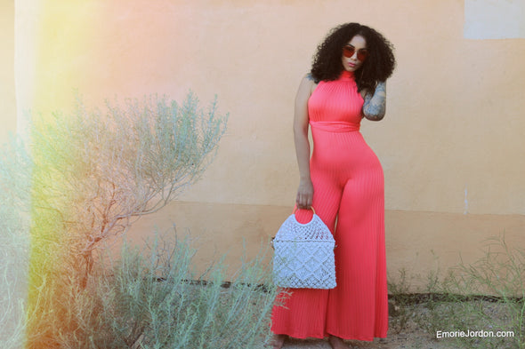 Coral Crush Flare Jumpsuit