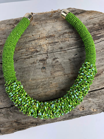 Green Beaded Collar Necklace