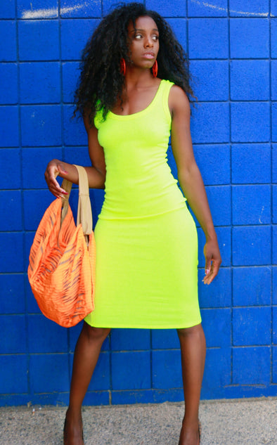 Neon Ribbed Knit Dress
