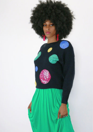 Dotted Sequins Vintage Sweater