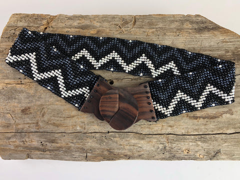 Black Ziggy Handmade Beaded Belt