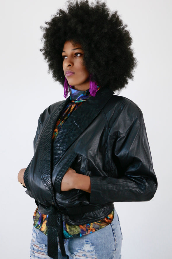 80's Vintage Leather Bomber Jacket