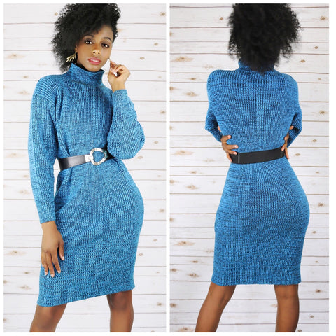 Vintage 80s Blue Sweater Dress