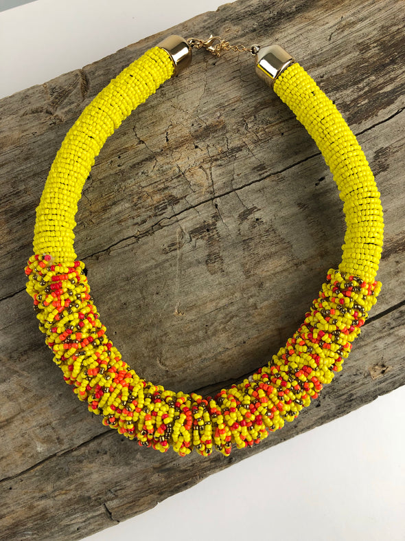 Yellow Beaded Collar Necklace