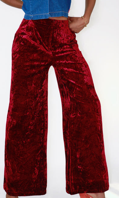 Cranberry Crush Velvet Pants
