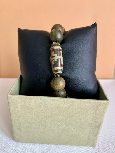 Men's Tibetan Quartz Stone and Wood Bracelet