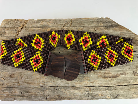 Brown Handmade Beaded Belt