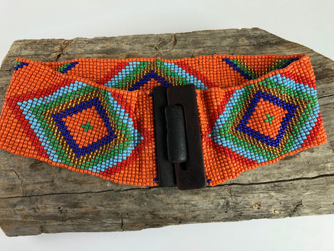 Orange Handmade Beaded Belt