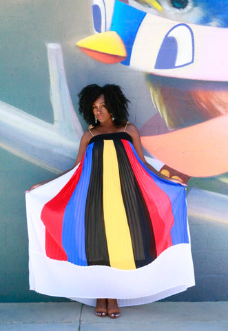 Mondrian Pleated Maxi Dress