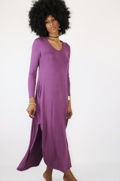 Aster Hooded Purple Maxi Dress