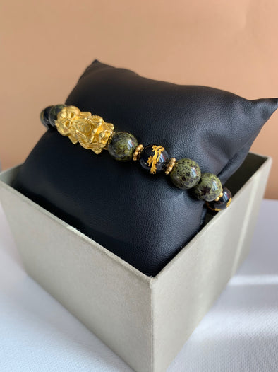 Green Jasper and Dragon Bracelet