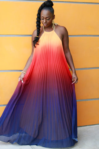 Mojave Sunset Pleated Maxi Dress