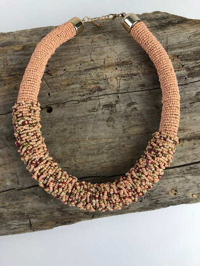 Peach Beaded Collar Necklace