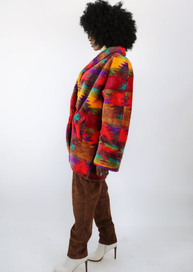 Royal Plush Vintage Aztec Faux Fur Coat
