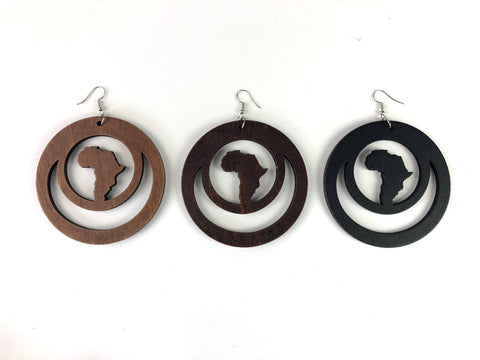 Dual Loop Africa Wooden Earrings