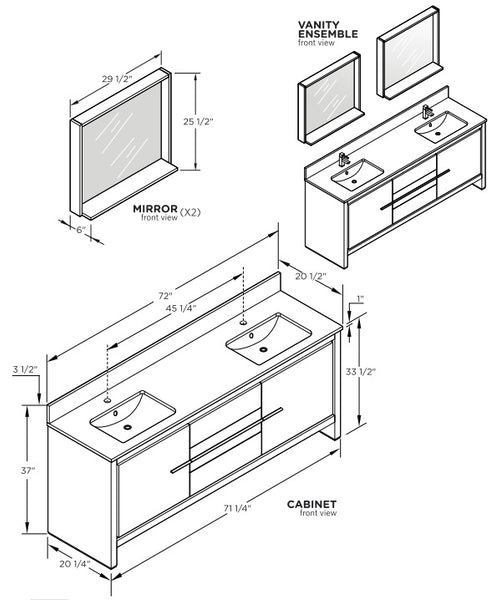 "Fresca Allier 72"" Bathroom Vanity Technical Drawing"