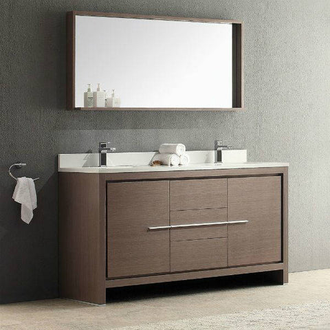 Fresca Allier 60 inch Modern Gray Bathroom Vanity