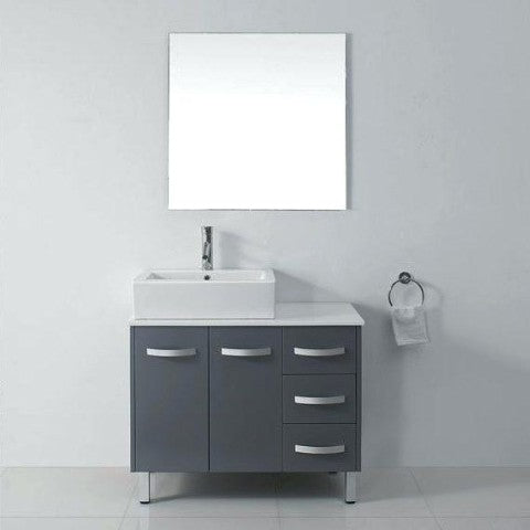40 inch freestanding grey bathroom vanity vessel sink