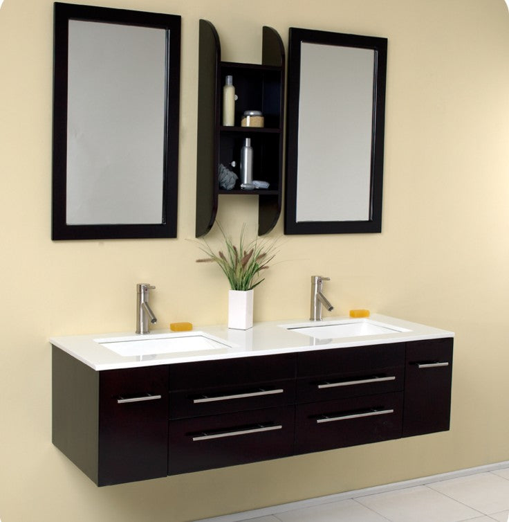 Modern Black floating vanity with mustard wall