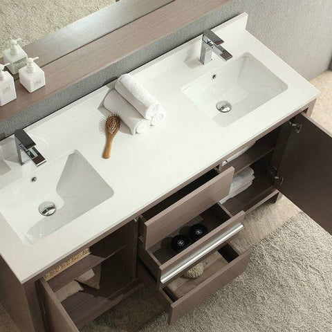 Fresca Allier 60 inch Gray Oak Modern Double Sink