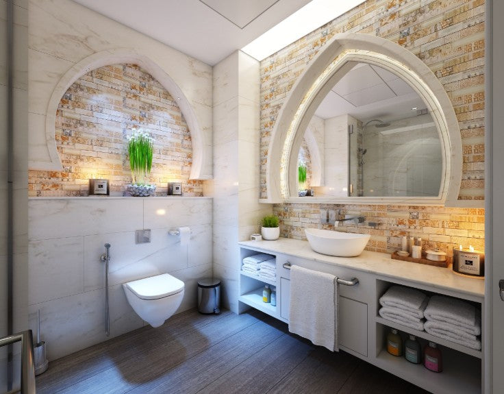 Modern white vanity with brick