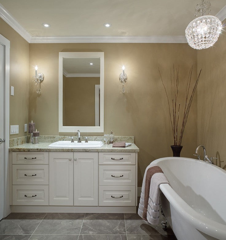 Modern white vanity with chandelier