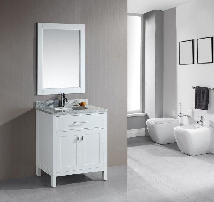 Single freestanding floating vanity with toilet