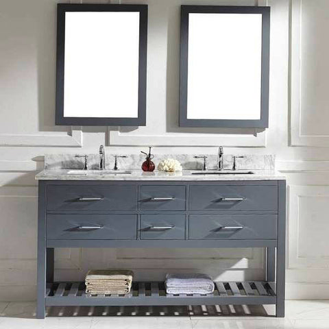 Virtu USA Caroline Estate 60-inch Grey Double Sink Vanity