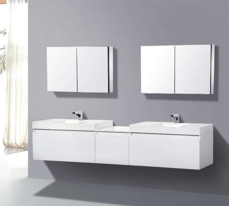 Virtu double floating white with mirrors