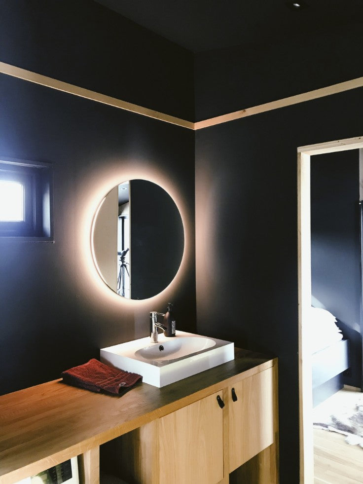 modern teak bathroom vanity and mirror