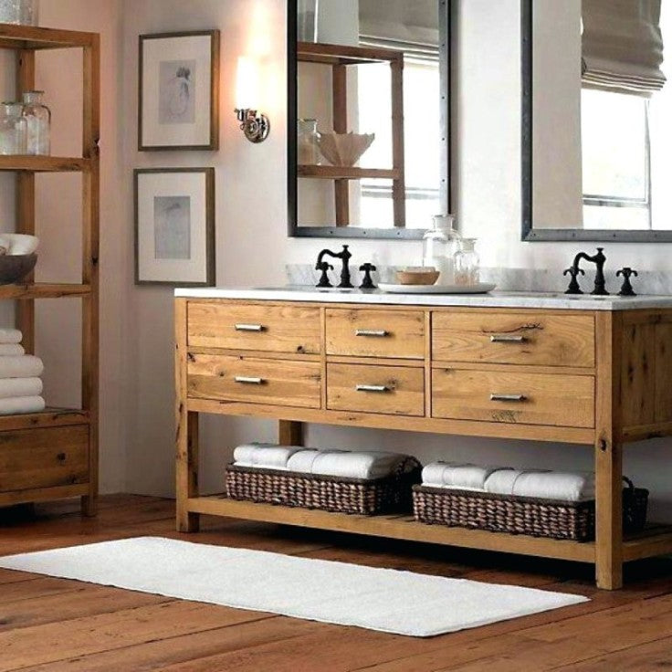 Double rustic vanity with vintage bridge faucets faucets