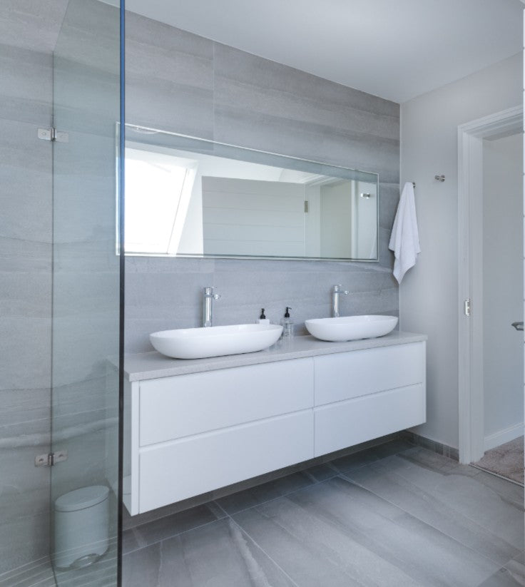 double modern white floating vanity tile wall