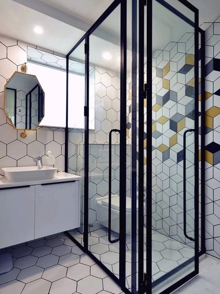 Modern vanity style with unique tile design