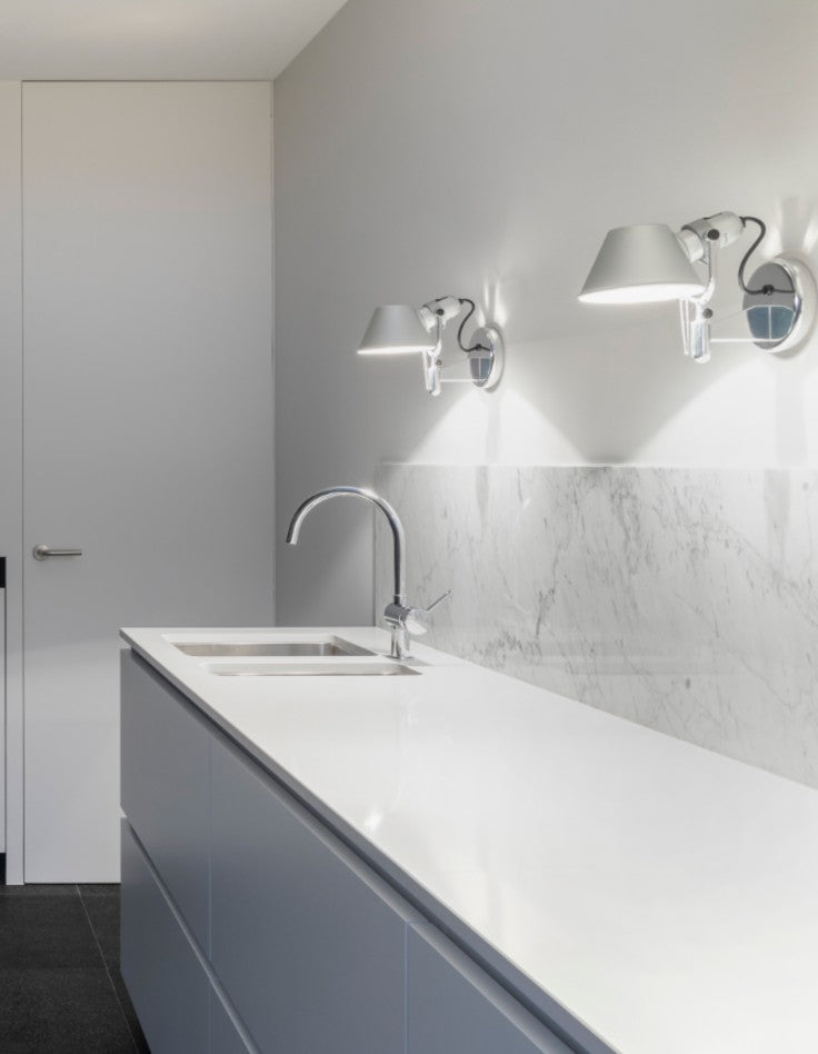 Modern bridge faucet and vanity